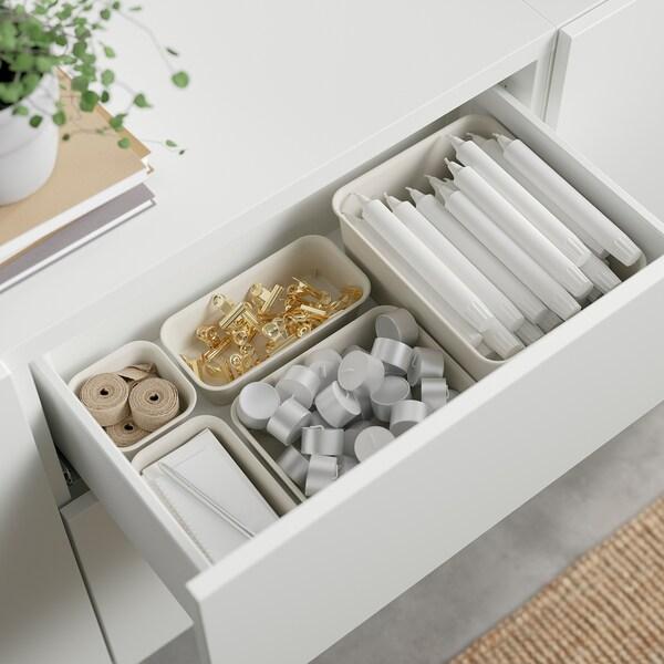 BESTÅ Combinaison rangement tiroirs, blanc/Selsviken brillant/beige, 180x42x65 cm