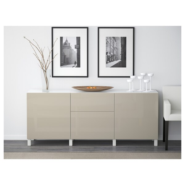 BESTÅ Combinaison rangement tiroirs, blanc/Selsviken/Stubbarp brillant/beige, 180x42x74 cm