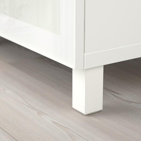 BESTÅ Combinaison rangement tiroirs, blanc/Selsviken/Stubbarp brillant/blanc verre givré, 180x42x74 cm