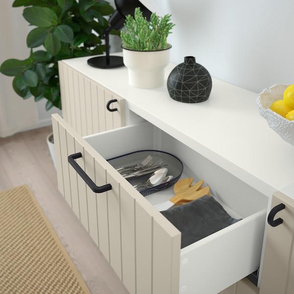 BESTÅ Combinaison rangement tiroirs, blanc/Sutterviken/Kabbarp gris-beige, 180x42x74 cm