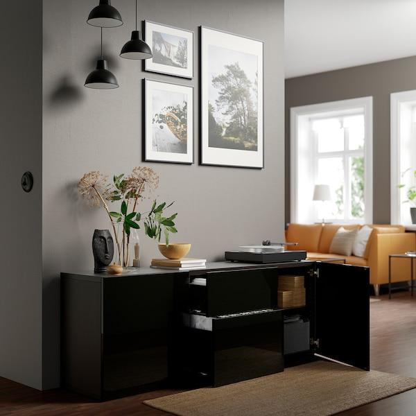 BESTÅ Combinaison rangement tiroirs, brun noir/Selsviken brillant/noir, 180x42x65 cm