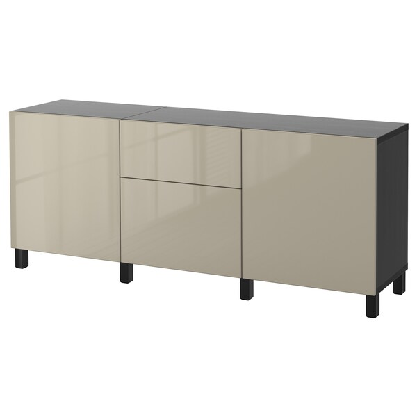 BESTÅ Combinaison rangement tiroirs, brun noir/Selsviken/Stubbarp brillant/beige, 180x42x74 cm