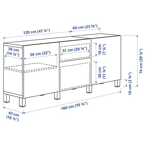 BESTÅ Combinaison rangement tiroirs, brun noir Selsviken/Stubbarp/brun-rouge foncé verre transparent, 180x42x74 cm