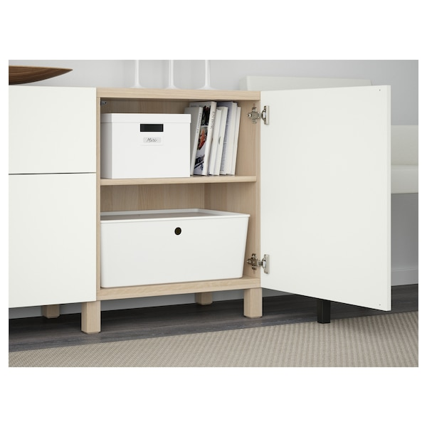 BESTÅ Combinaison rangement tiroirs, effet chêne blanchi/Lappviken blanc, 180x40x74 cm