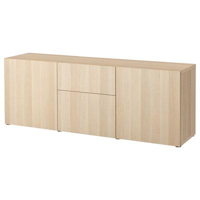 BESTÅ Combinaison rangement tiroirs, effet chêne blanchi/Lappviken effet chêne blanchi, 180x42x65 cm