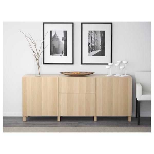 BESTÅ Combinaison rangement tiroirs, effet chêne blanchi/Lappviken motif chêne blanchi verre transp, 180x40x74 cm