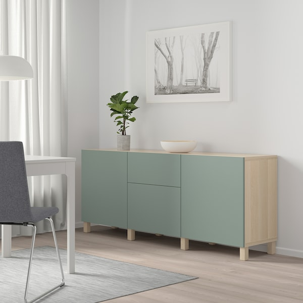 BESTÅ Combinaison rangement tiroirs, effet chêne blanchi/Notviken/Stubbarp gris vert, 180x42x74 cm