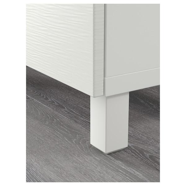 BESTÅ Combinaison rangement tiroirs, Laxviken blanc/Selsviken brillant/blanc, 180x40x74 cm