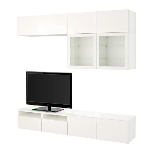 best combinaison rangt tv vitrines blanc selsviken brillant blanc verre transparent. Black Bedroom Furniture Sets. Home Design Ideas