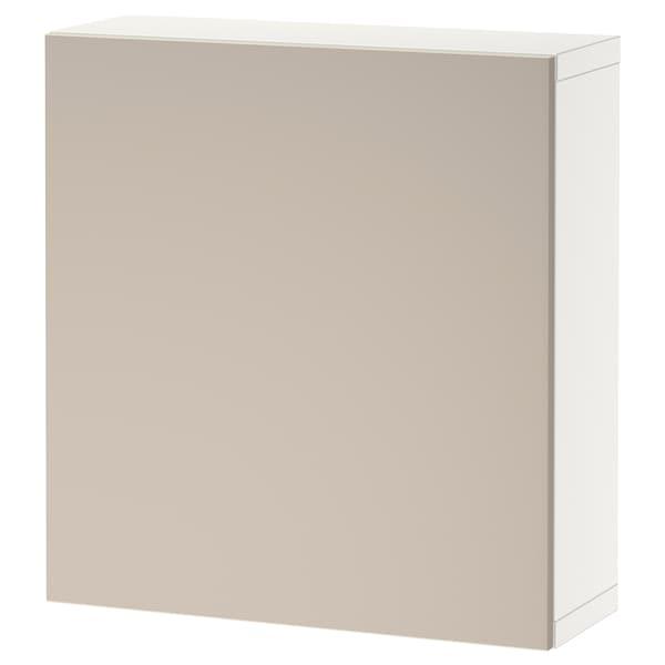 BESTÅ Étagère avec porte, blanc/Lappviken gris clair/beige, 60x22x64 cm
