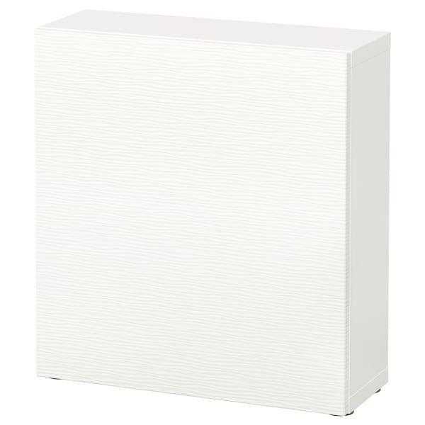 BESTÅ Étagère avec porte, blanc/Laxviken blanc, 60x22x64 cm