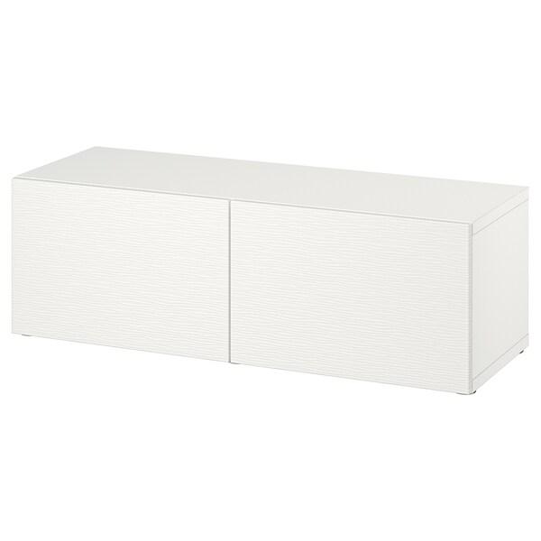 BESTÅ Étagère avec portes, blanc/Laxviken blanc, 120x42x38 cm