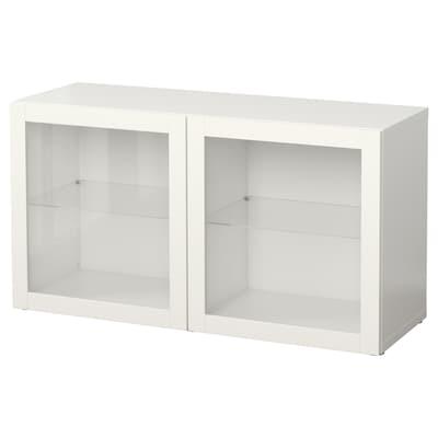 BESTÅ Étagère avec portes vitrées, blanc/Sindvik blanc verre transparent, 120x40x64 cm