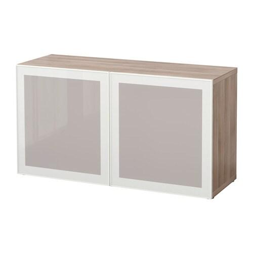 best tag re avec portes vitr es motif noyer teint gris glassvik blanc verre givr ikea. Black Bedroom Furniture Sets. Home Design Ideas
