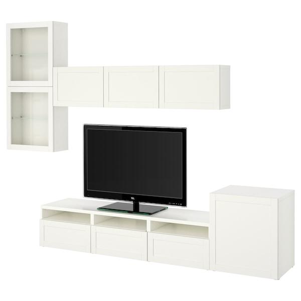 BESTÅ Rangement TV/vitrines, blanc/Hanviken blanc verre transparent, 300x42x211 cm