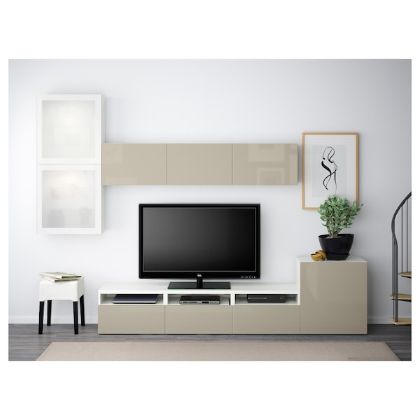 BESTÅ Rangement TV/vitrines, blanc/Selsviken brillant/beige verre givré, 300x42x211 cm
