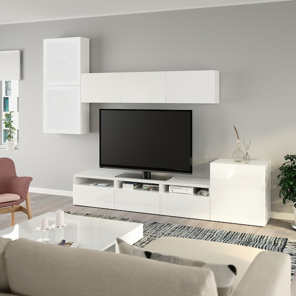 BESTÅ Rangement TV/vitrines, blanc/Selsviken brillant/blanc verre givré, 300x42x211 cm