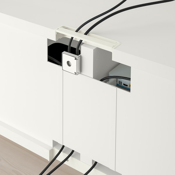 BESTÅ Rangement TV/vitrines, blanc/Selsviken brillant/blanc verre givré, 240x42x231 cm