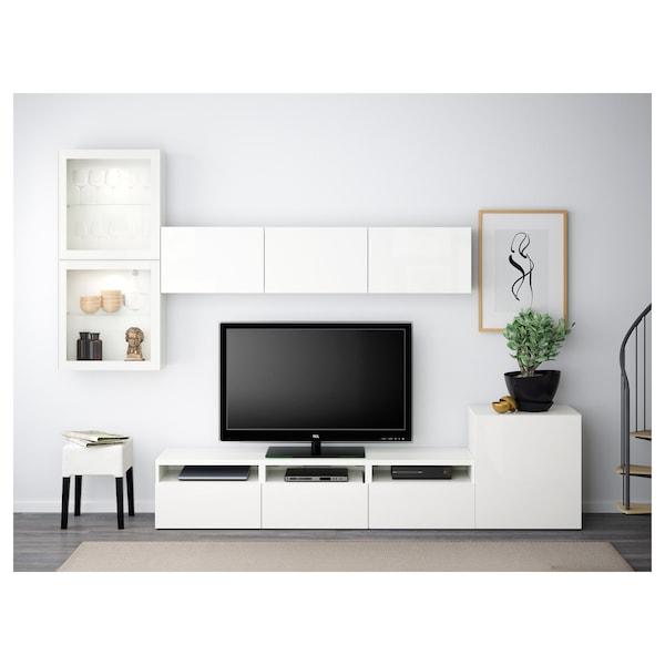 BESTÅ Rangement TV/vitrines, blanc/Selsviken brillant/blanc verre transparent, 300x42x211 cm