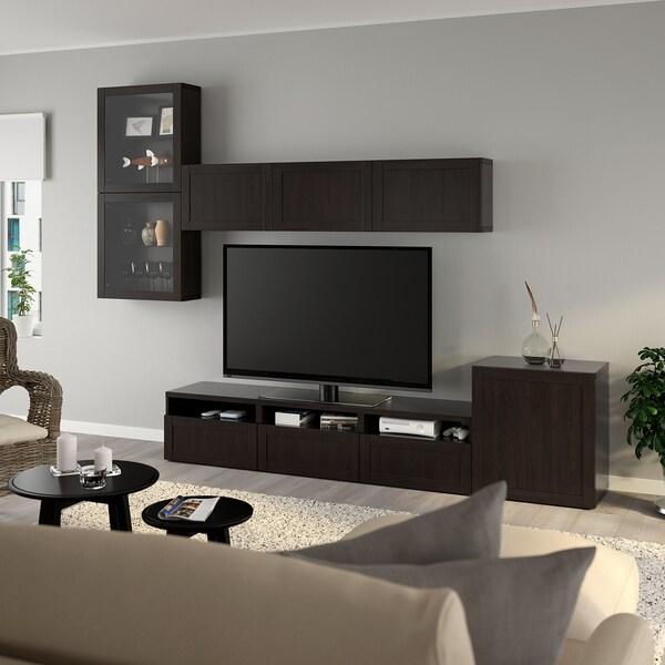 BESTÅ Rangement TV/vitrines, brun noir/Hanviken brun noir verre transparent, 300x42x211 cm