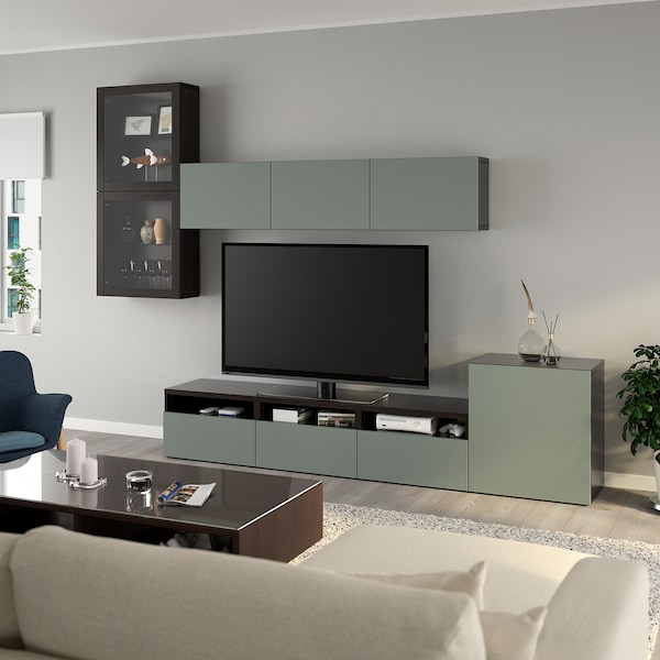 BESTÅ Rangement TV/vitrines, brun noir/Notviken gris-vert verre transparent, 300x42x211 cm