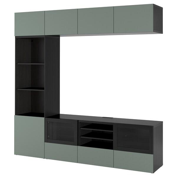 BESTÅ Rangement TV/vitrines, brun noir/Notviken gris-vert verre transparent, 240x42x230 cm