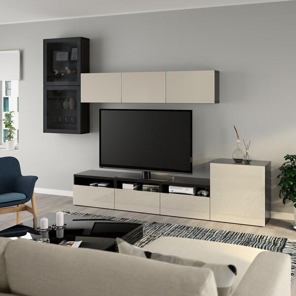BESTÅ Rangement TV/vitrines, brun noir/Selsviken brillant/beige verre fumé, 300x42x211 cm