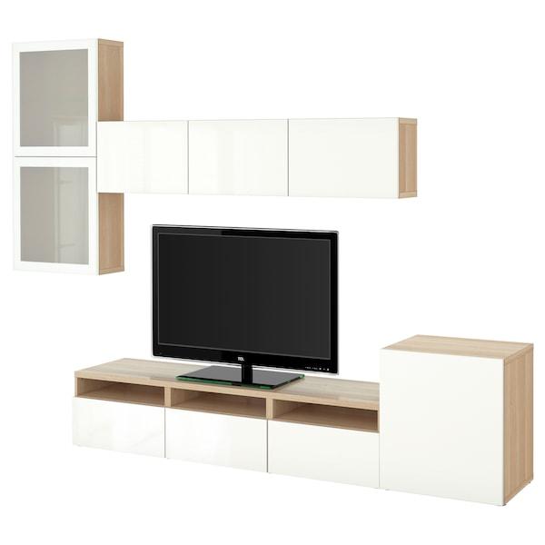 BESTÅ Rangement TV/vitrines, effet chêne blanchi/Selsviken brillant/blanc verre givré, 300x42x211 cm
