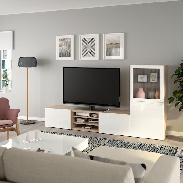 BESTÅ Rangement TV/vitrines, effet chêne blanchi/Selsviken brillant/blanc verre transparent, 240x42x129 cm