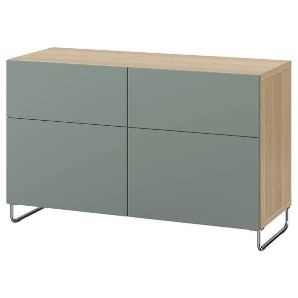 BESTÅ combi rgt portes/tiroirs effet chêne blanchi/Notviken/Sularp gris vert 120 cm 42 cm 74 cm