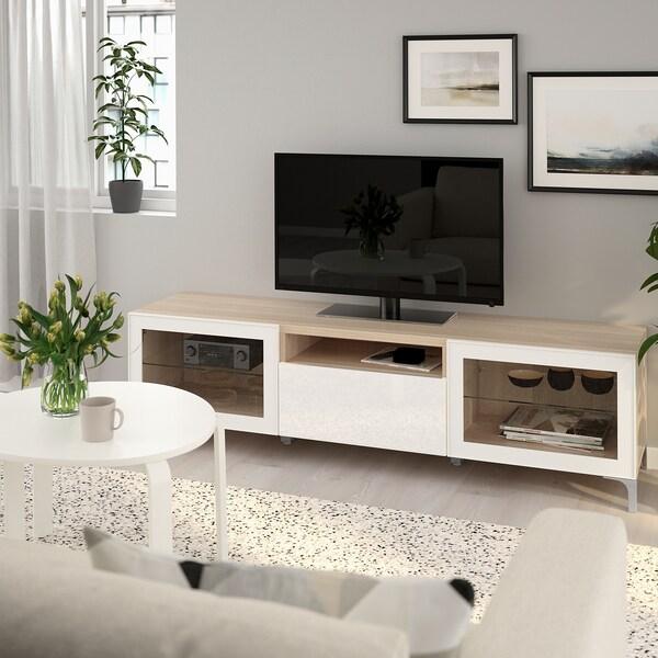 BESTÅ banc TV effet chêne blanchi/Selsviken/Nannarp brillant/blanc verre transparent  180 cm 42 cm 48 cm 50 kg