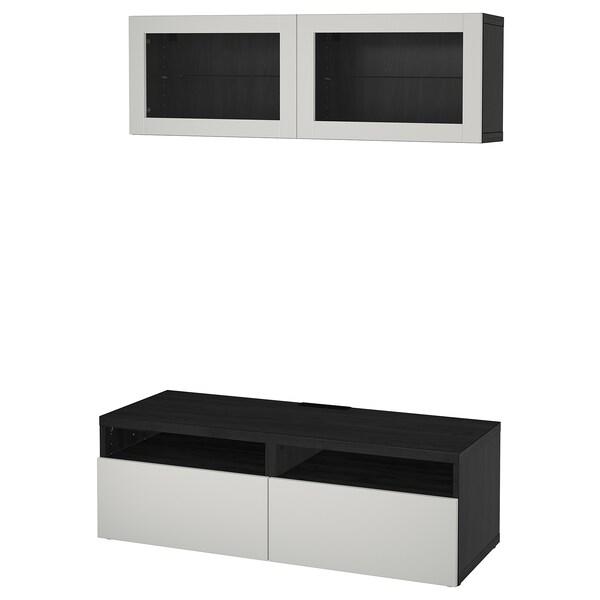 BESTÅ combinaison rangt TV/vitrines brun noir Lappviken/gris clair verre transparent 120 cm 166 cm 20 cm 40 cm