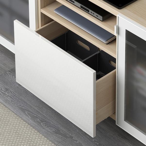 bestÅ banc tv avec tiroirs  effet chêne blanchi