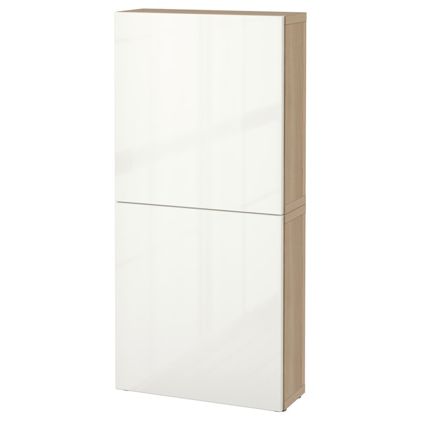 BESTÅ élément mural 2 portes effet chêne blanchi/Selsviken brillant/blanc 60 cm 20 cm 128 cm