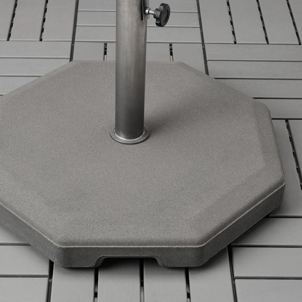 BETSÖ / VÅRHOLMEN Parasol avec pied, effet bois gris beige/Huvön, 300 cm
