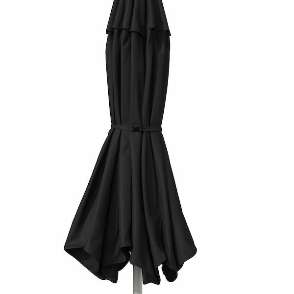 BETSÖ / VÅRHOLMEN Parasol avec pied, effet bois gris gris foncé/Huvön gris, 300 cm