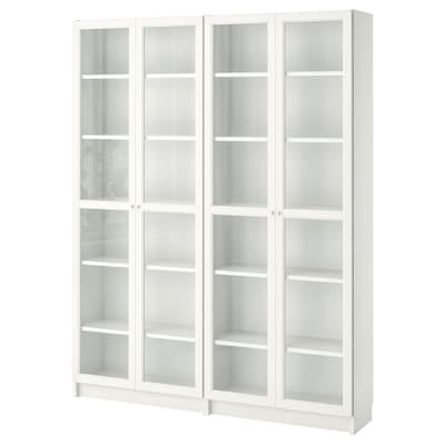 BILLY / OXBERG Bibliothèque, blanc/verre, 160x30x202 cm