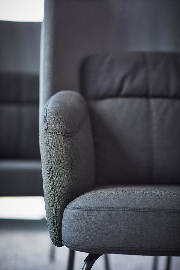 BINGSTA Fauteuil, Vissle gris foncé/Kabusa gris foncé