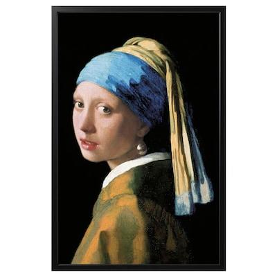 BJÖRKSTA Image avec cadre, La jeune fille à la perle/noir, 78x118 cm