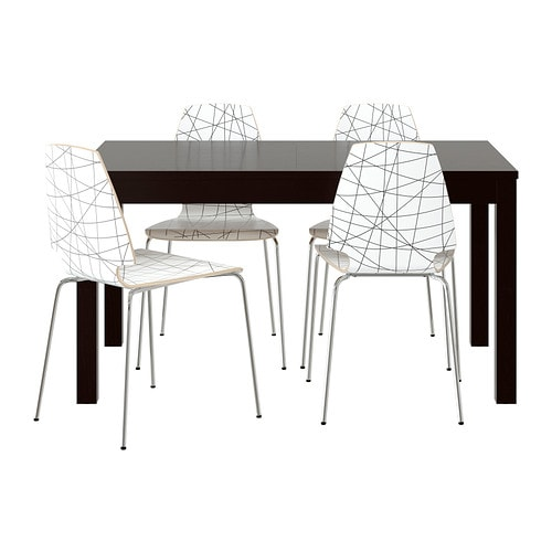 Bjursta vilmar table et 4 chaises ikea for Table extensible ikea bjursta brun noir