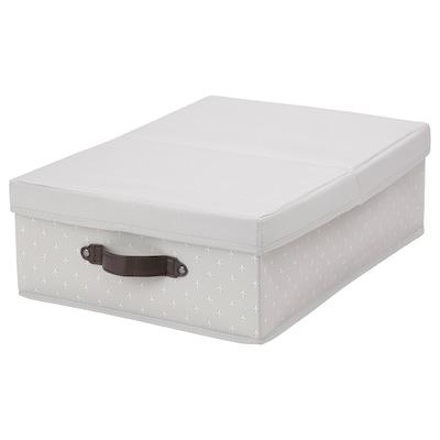 BLÄDDRARE Boîte couvercle, gris/à motifs, 35x50x15 cm