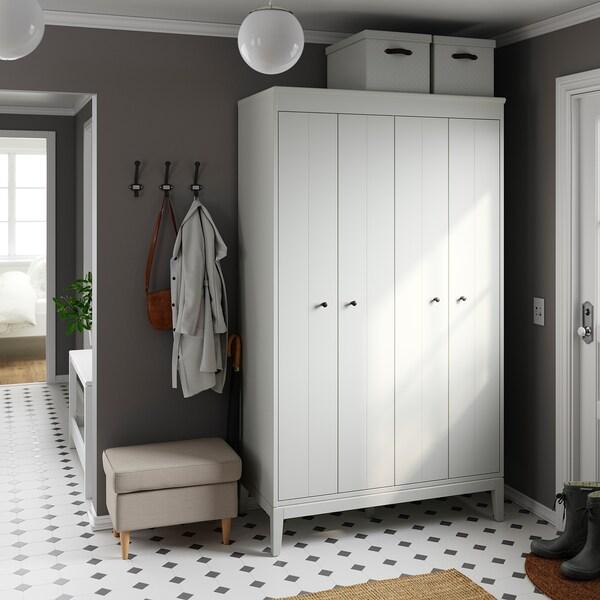 BLÄDDRARE Boîte couvercle, gris/à motifs, 35x50x30 cm