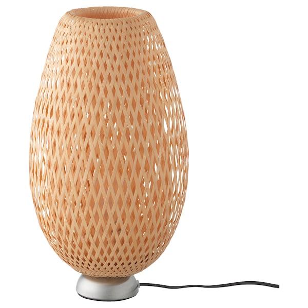 BÖJA Lampe de table, nickelé/bambou