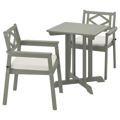 BONDHOLMEN table + 2 chaises accoudoir, ext teinté gris/Frösön/Duvholmen beige