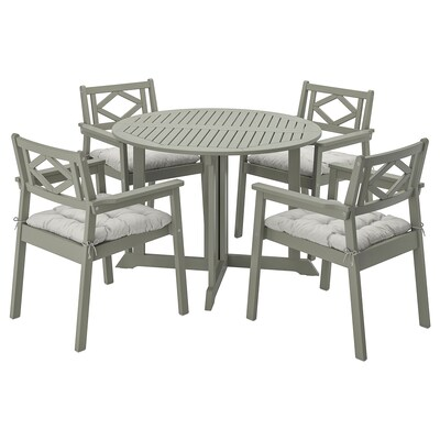 BONDHOLMEN table+4 chaises accoud, extérieur teinté gris/Kuddarna gris