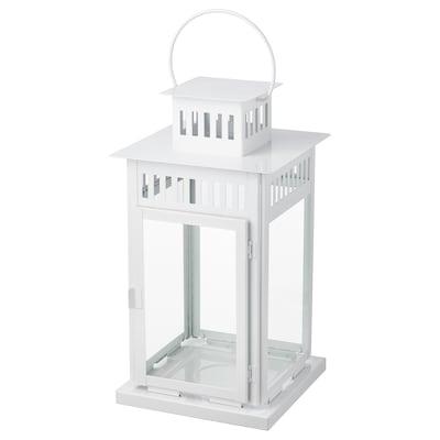 BORRBY Lanterne pour bougie bloc, intérieur/extérieur blanc, 44 cm