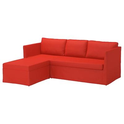 BRÅTHULT Canapé d'angle, 3 places, Vissle rouge/orange
