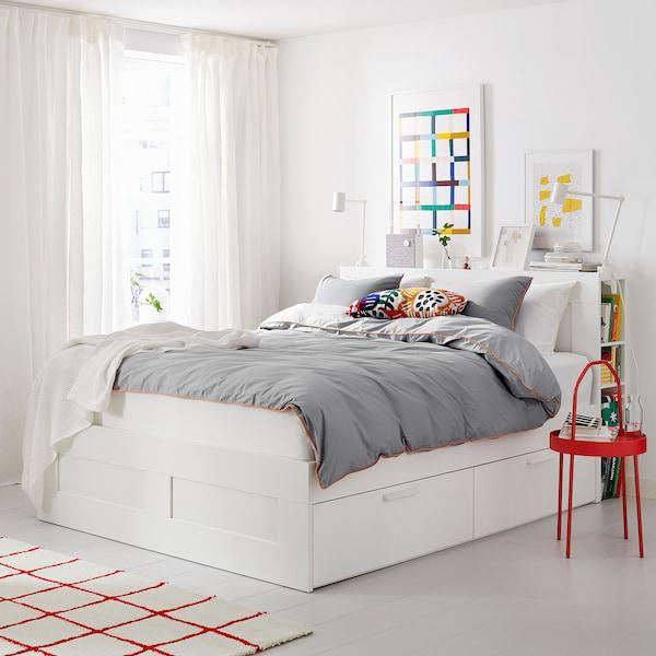 BRIMNES Cadre de lit+rangement/tête de lit, blanc/Luröy, 140x200 cm
