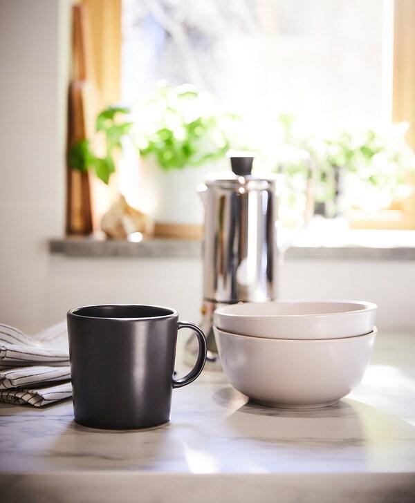 DINERA Mug, gris foncé, 30 cl