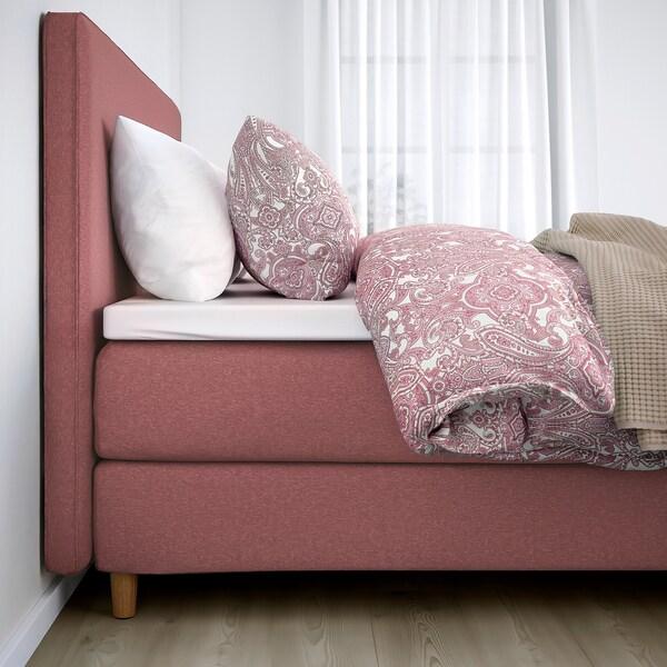 DUNVIK Lit/sommier, Hövåg ferme/mi-ferme/Tustna Gunnared brun-rose clair, 180x200 cm